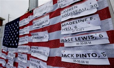 Names of victims hang on a U.S. flag on a makeshift memorial in the Sandy Hook village of Newtown, Connecticut. (AP Photo/Julio Cortez)