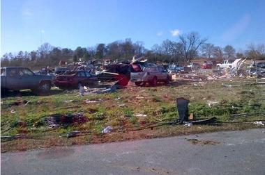 Above: Damage seen in Calhoun, Ga. Below: A house destroyed in Adairsville (Photos by Justin Tomczak)