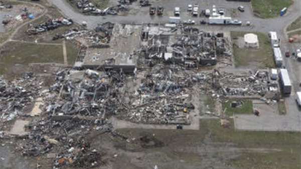 Wreckage of the Plaza Towers Elementary School in Moore, Okla., on Tuesday, May 21, 2013. (AP Photo/Sue Ogrocki, Pool)