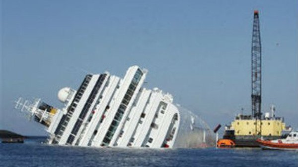 The grounded cruise ship Costa Concordia off the Tuscan island of Giglio, Italy, on Jan. 24. (AP Photo/Pier Paolo Cito)