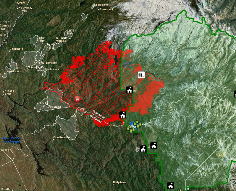 Fire Map Yosemite.Interactive Map Shows Different Views Of Yosemite Fire