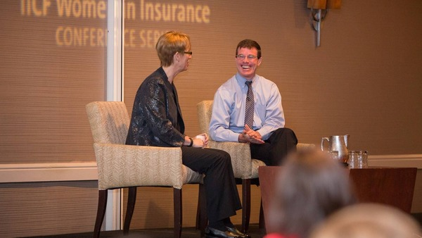 Kelley Buchanan and Tim Ryan of PwC discuss megatrends at IICF's Women in Insurance Regional Forum in Chicago.