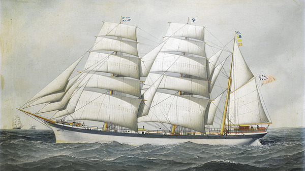 The British barque Dunearn at sea under full sail and calling for a pilot by Antonio Jacobsen