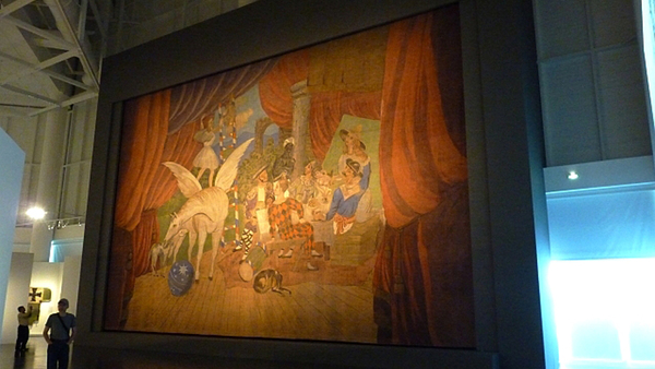 Painted curtain of Pablo Picasso for Parade, ballet of Jean Cocteau and Erik Satie (1917) displayed during the exhibition at the Centre Pompidou-Metz, Metz, France.