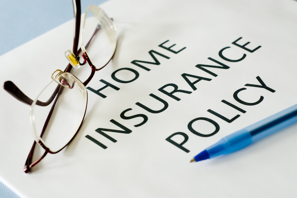 Home insurance policy with eyeglasses