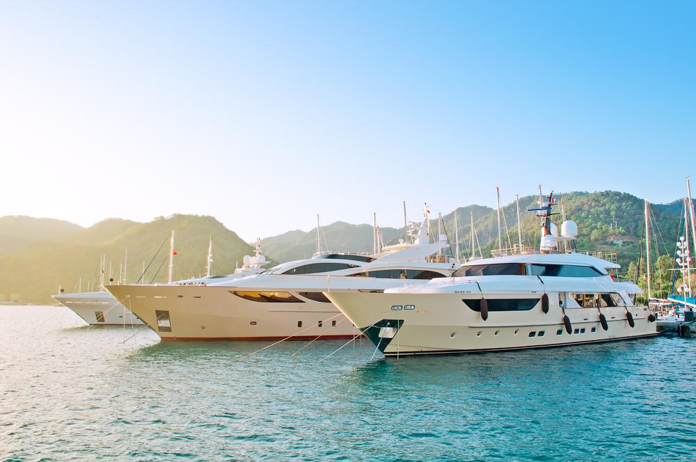 Yachts at pier