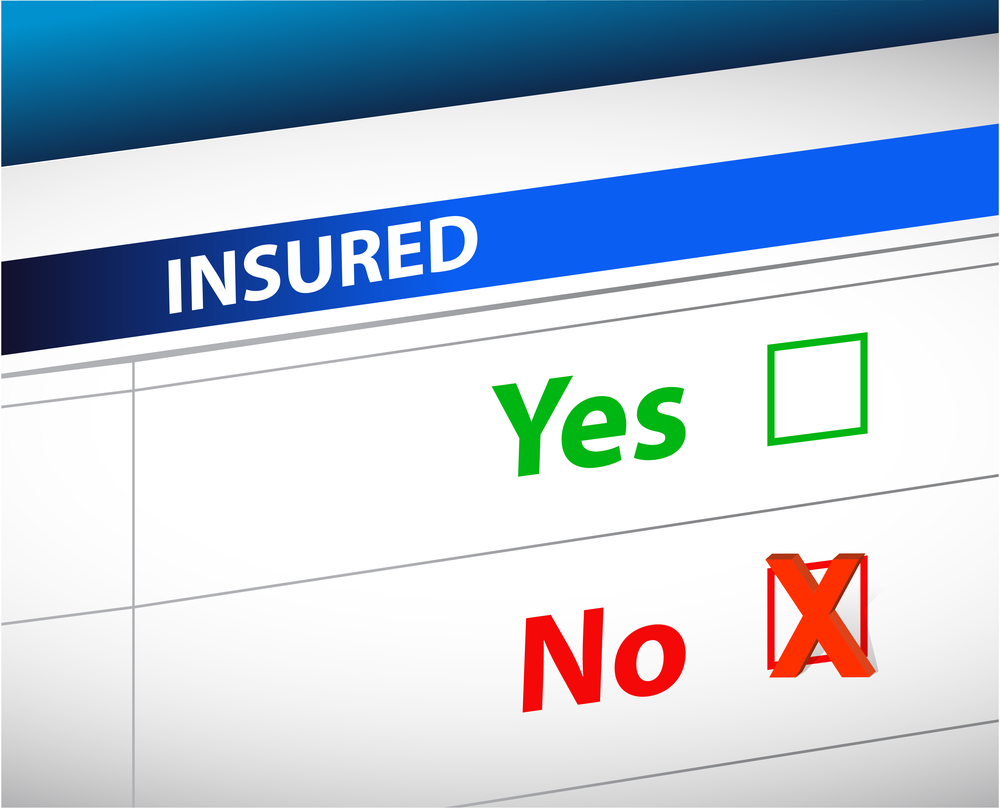 Insurance coverage form with check boxes, yes, no