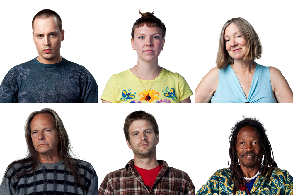 Six faces of diverse people