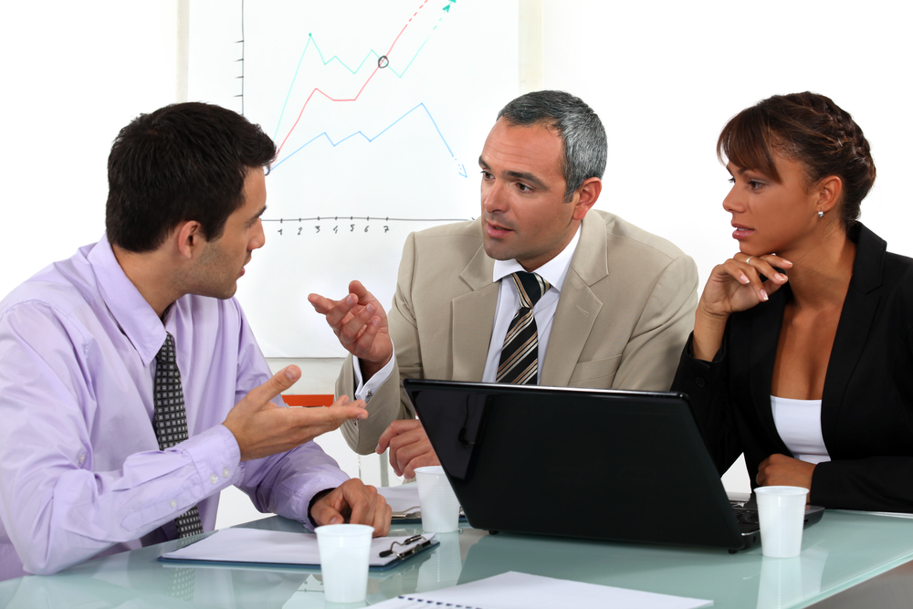Business people talking in an office