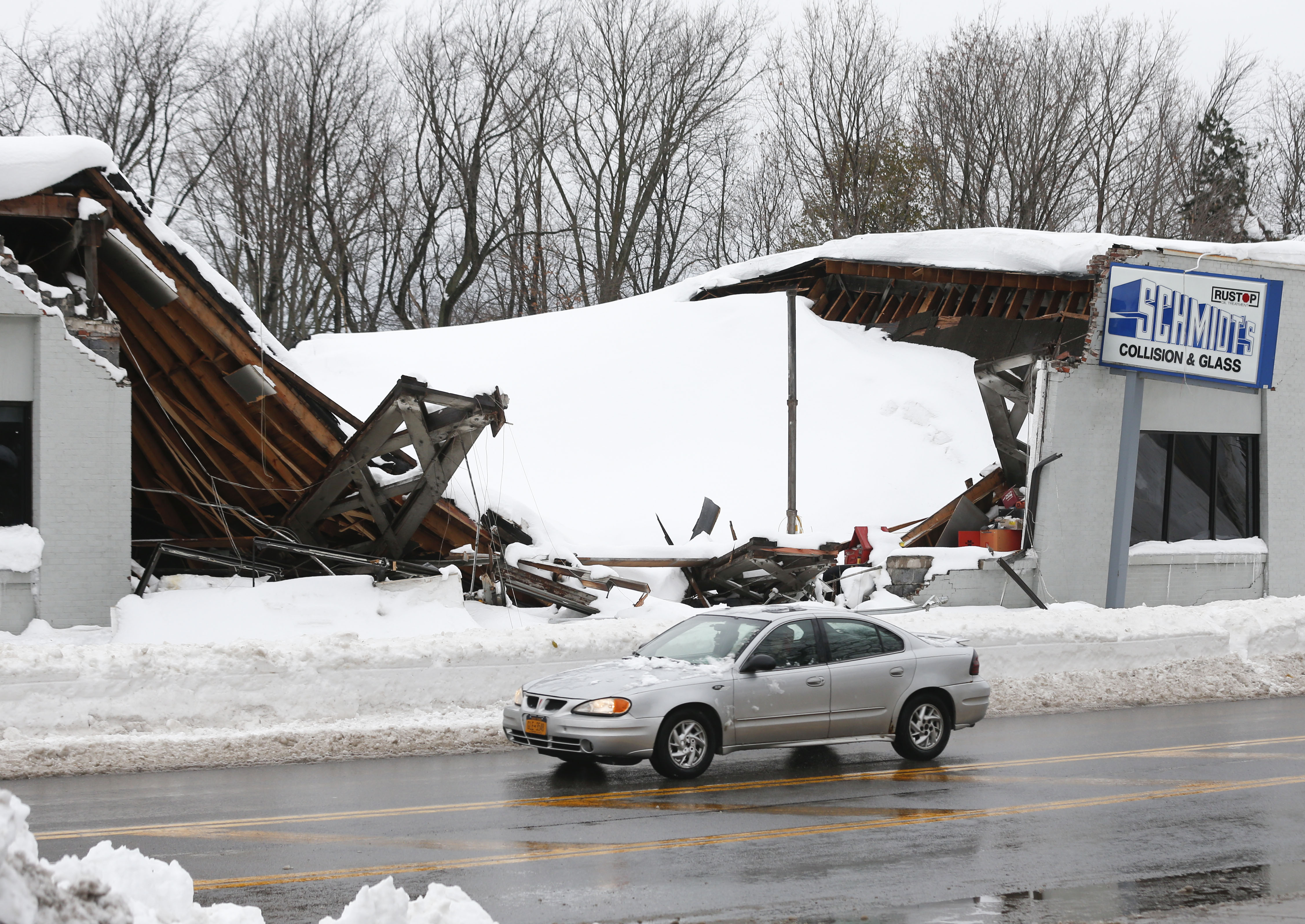 Roof collapses from weight of snow