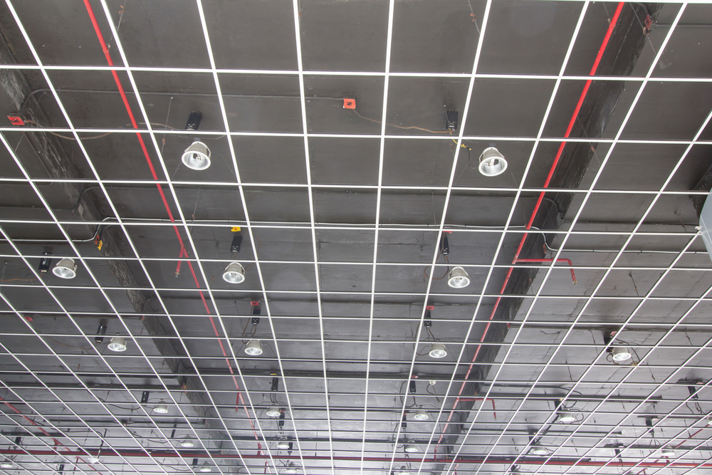 Fire sprinklers in ceiling of commercial building