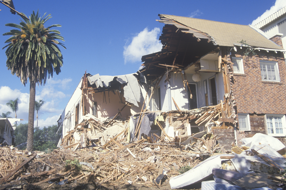 A Santa Monica apartment building destroyed by the Northridge earthquake in 1994