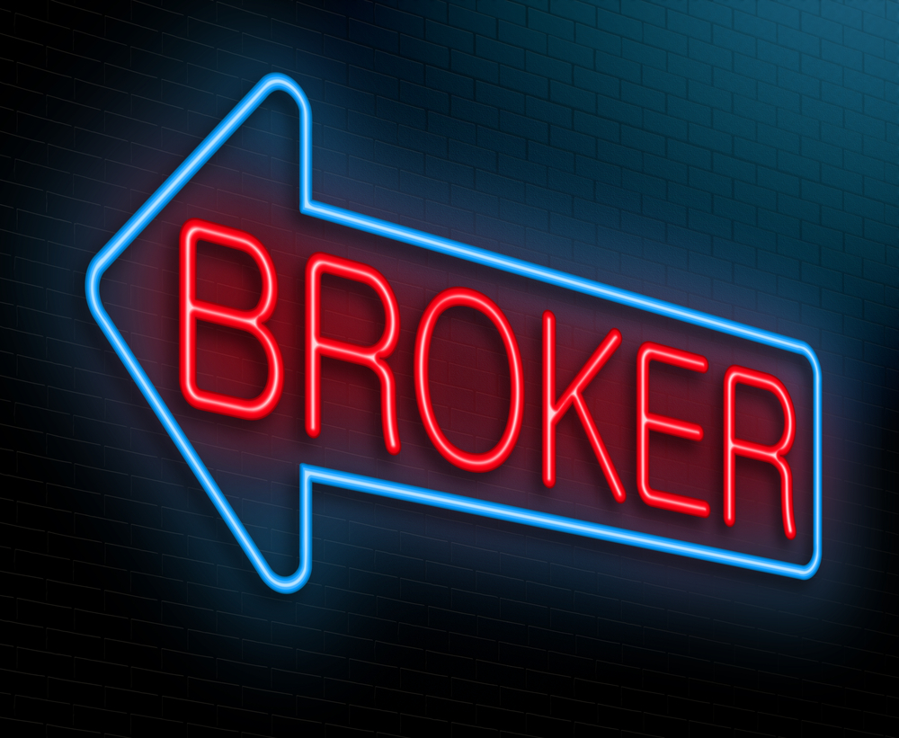 Light-up sign says Broker