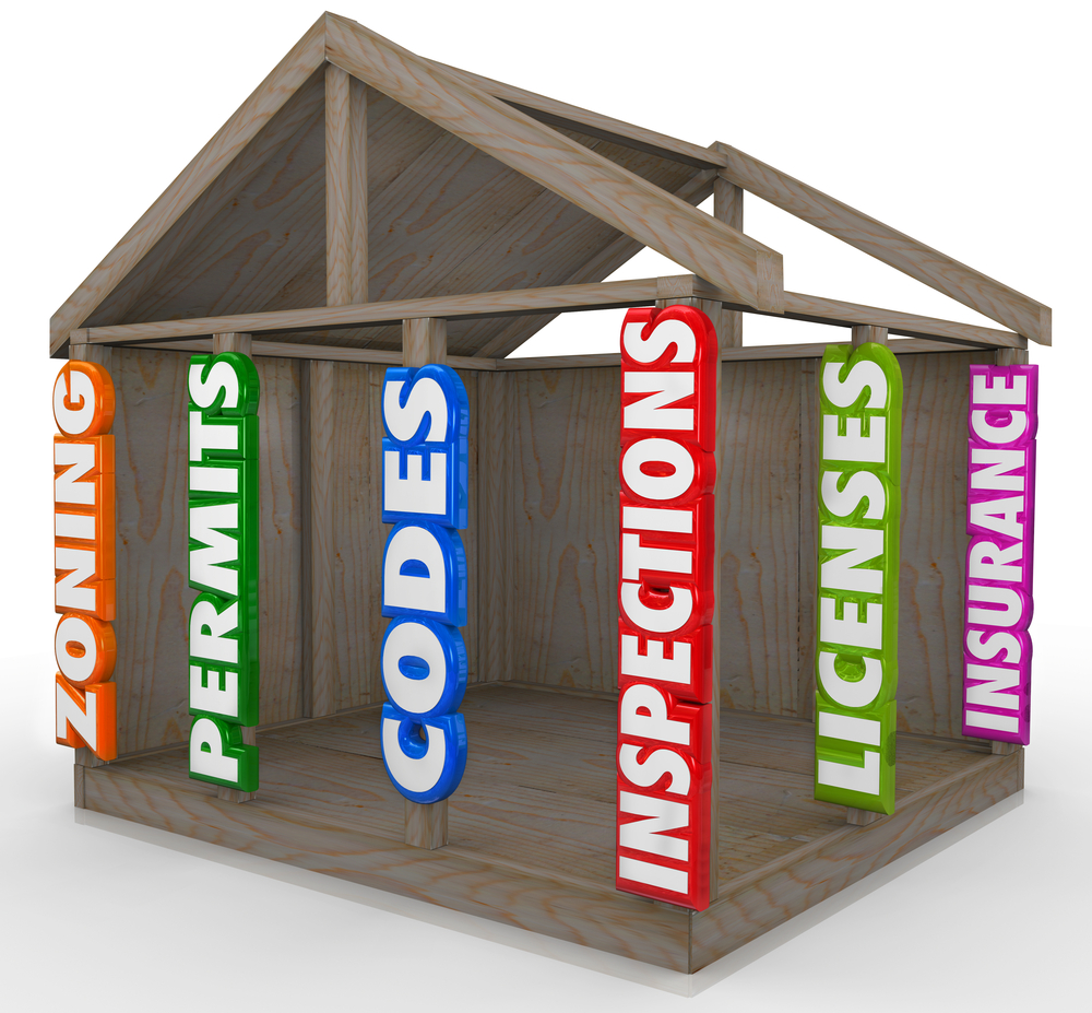 Frame building with posts saying insurance, license, permits, etc.