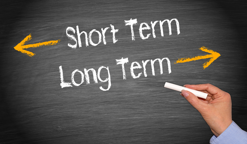 Hand writing on chalkboard with long-term, short-term plan