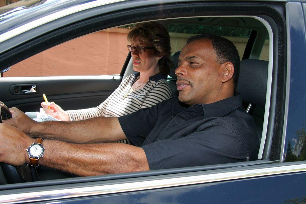 Man taking a driving class