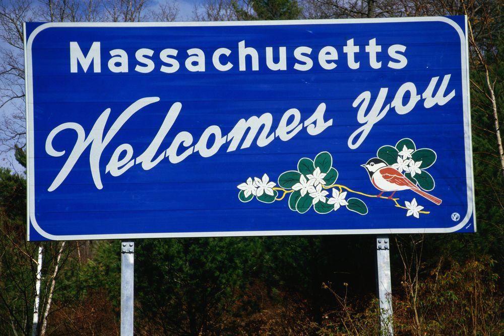 Massachusetts welcome sign