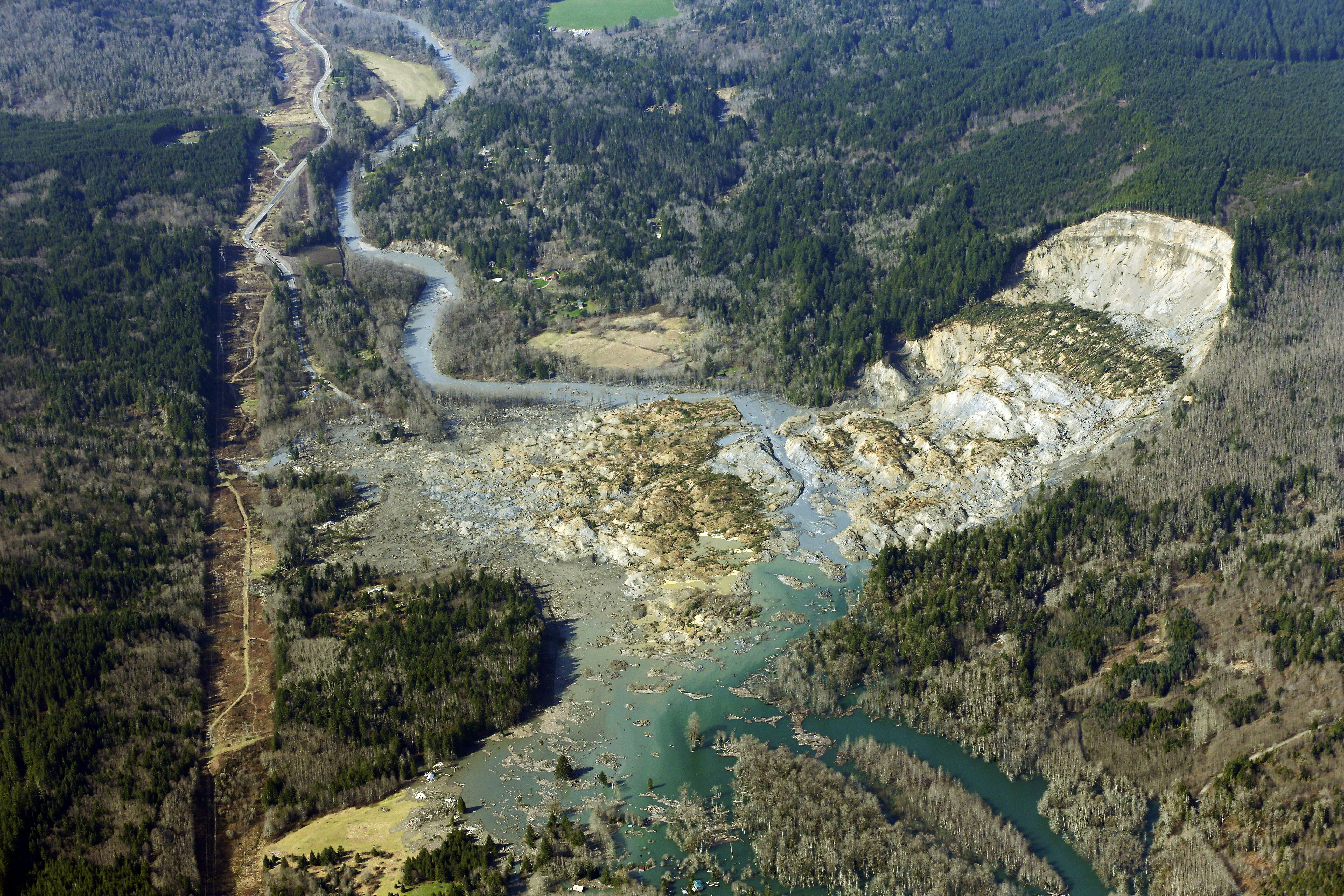 Oso, Washington mudslide aerial photo