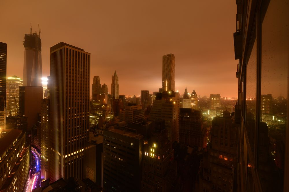 Lower Manhattan during a power outage