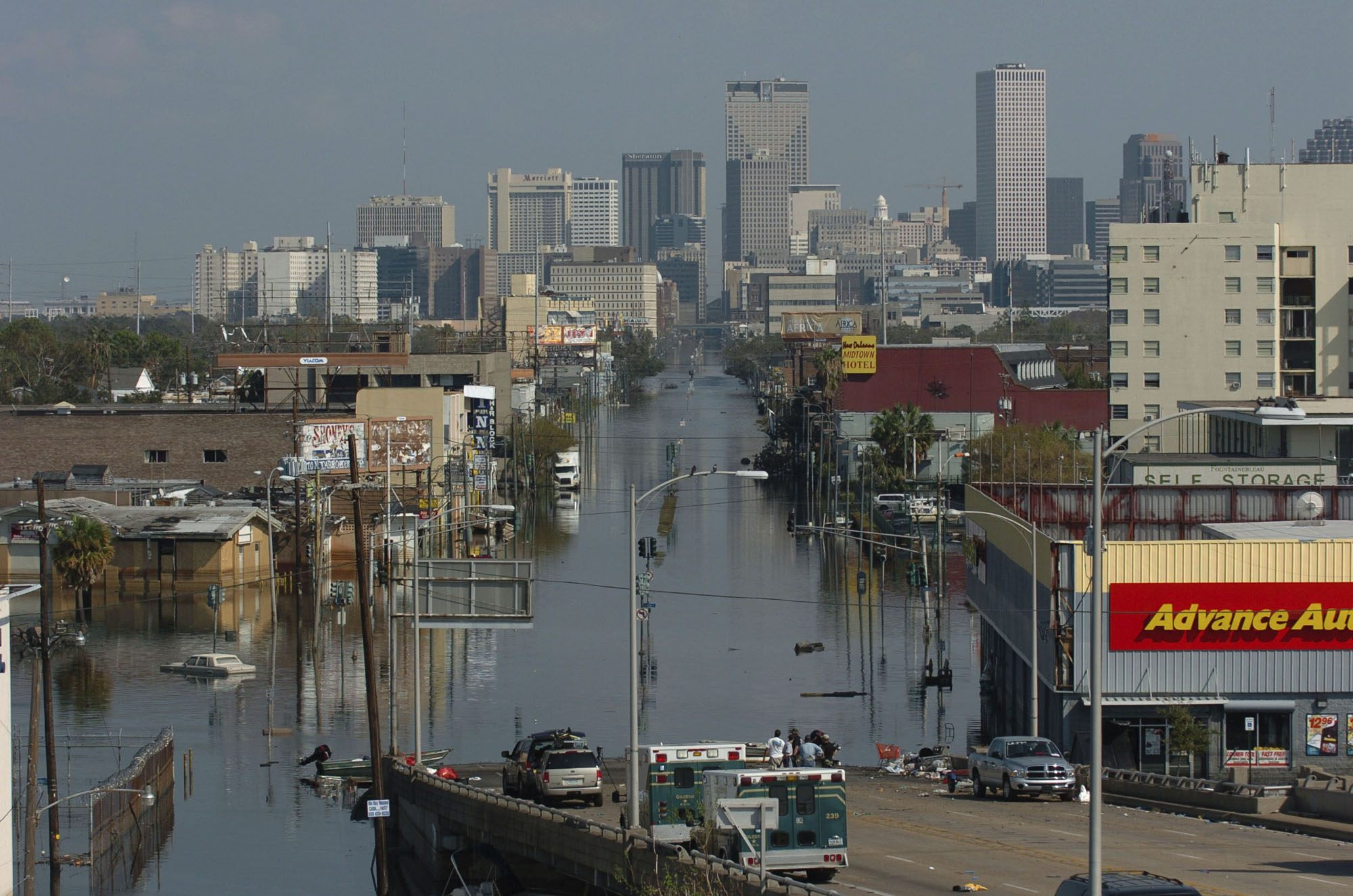 Downtown New Orleans skyline and the flooded Tulane Ave. offramp from I-10
