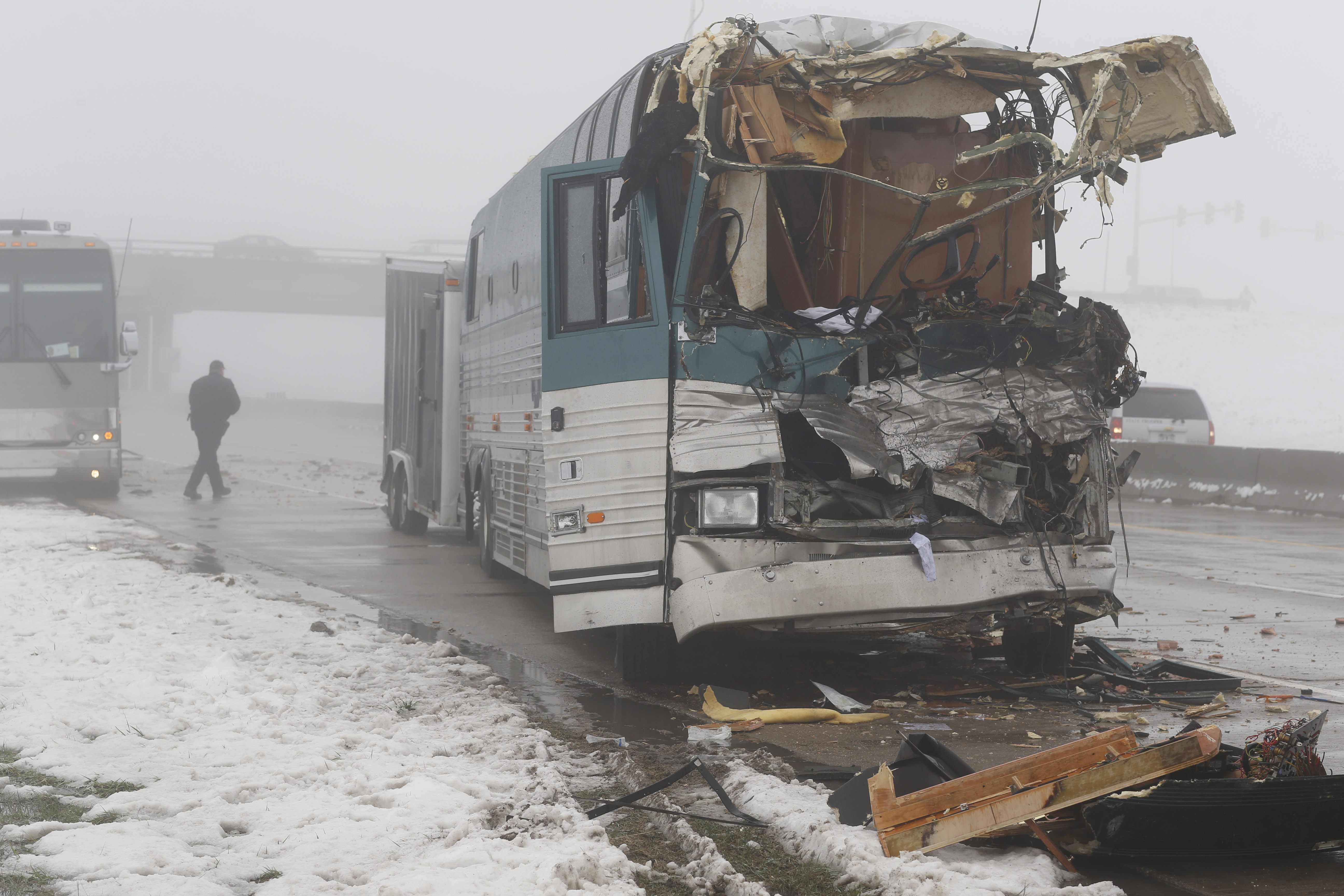 tour bus involved in an accident with a tractor trailer