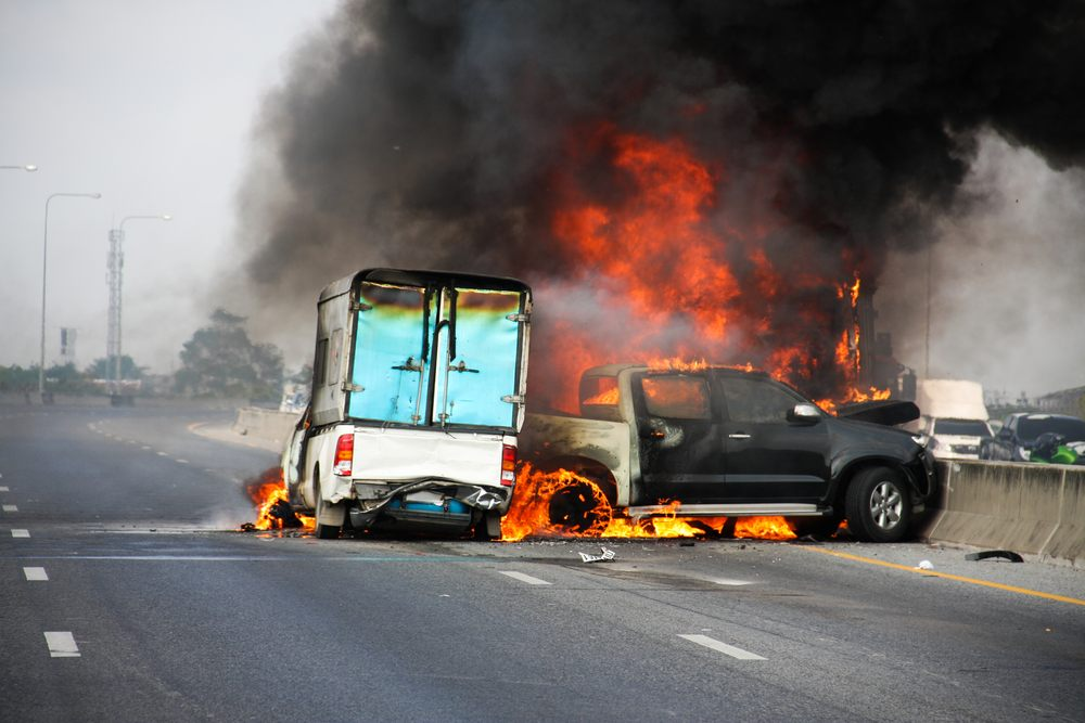 fiery freeway crash