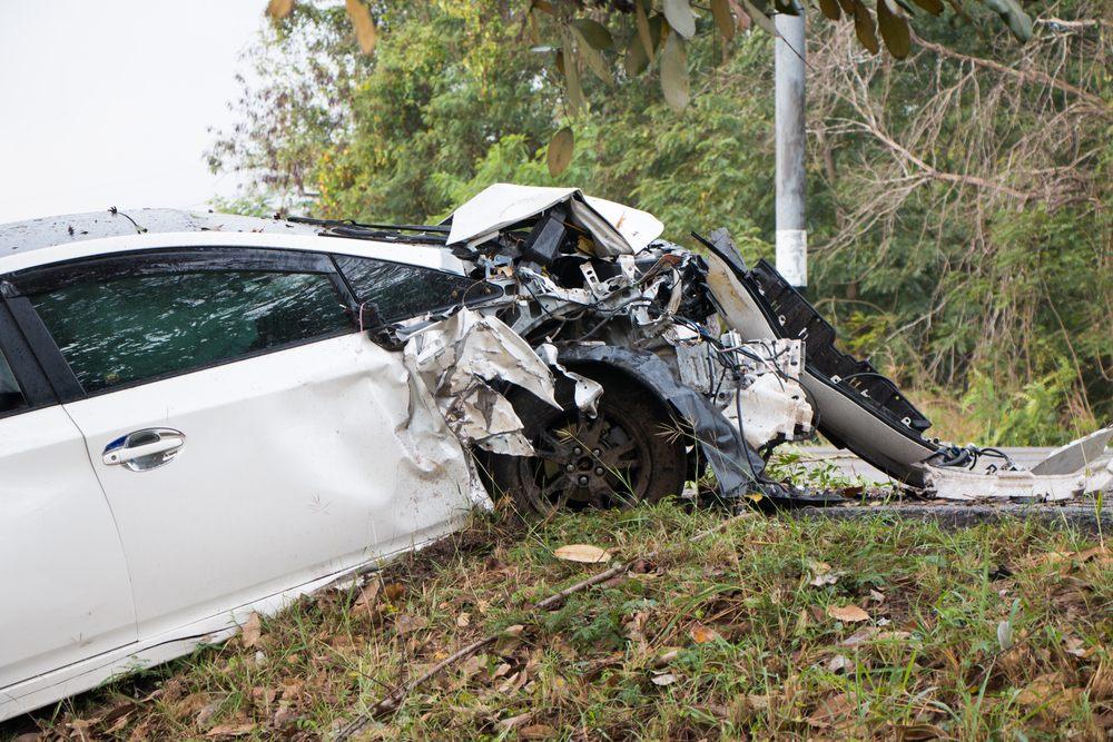 white car in crash
