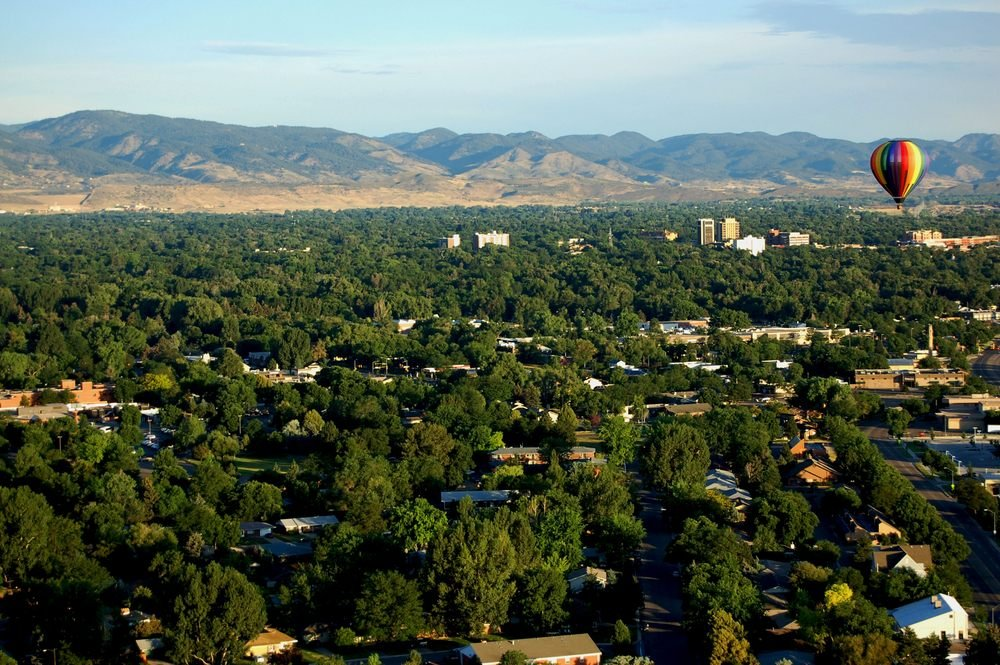 Aerial view of Fort Collins, Colorado looking West