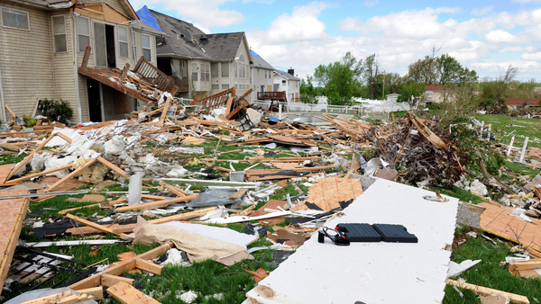 Debris from destroyed homes and property is strewn across areas of St. Louis, Missouri after tornadoes hit the Saint Louis area on Friday, April 22, 2011. Photo credit: R. Gino Santa Maria/Shutterstock