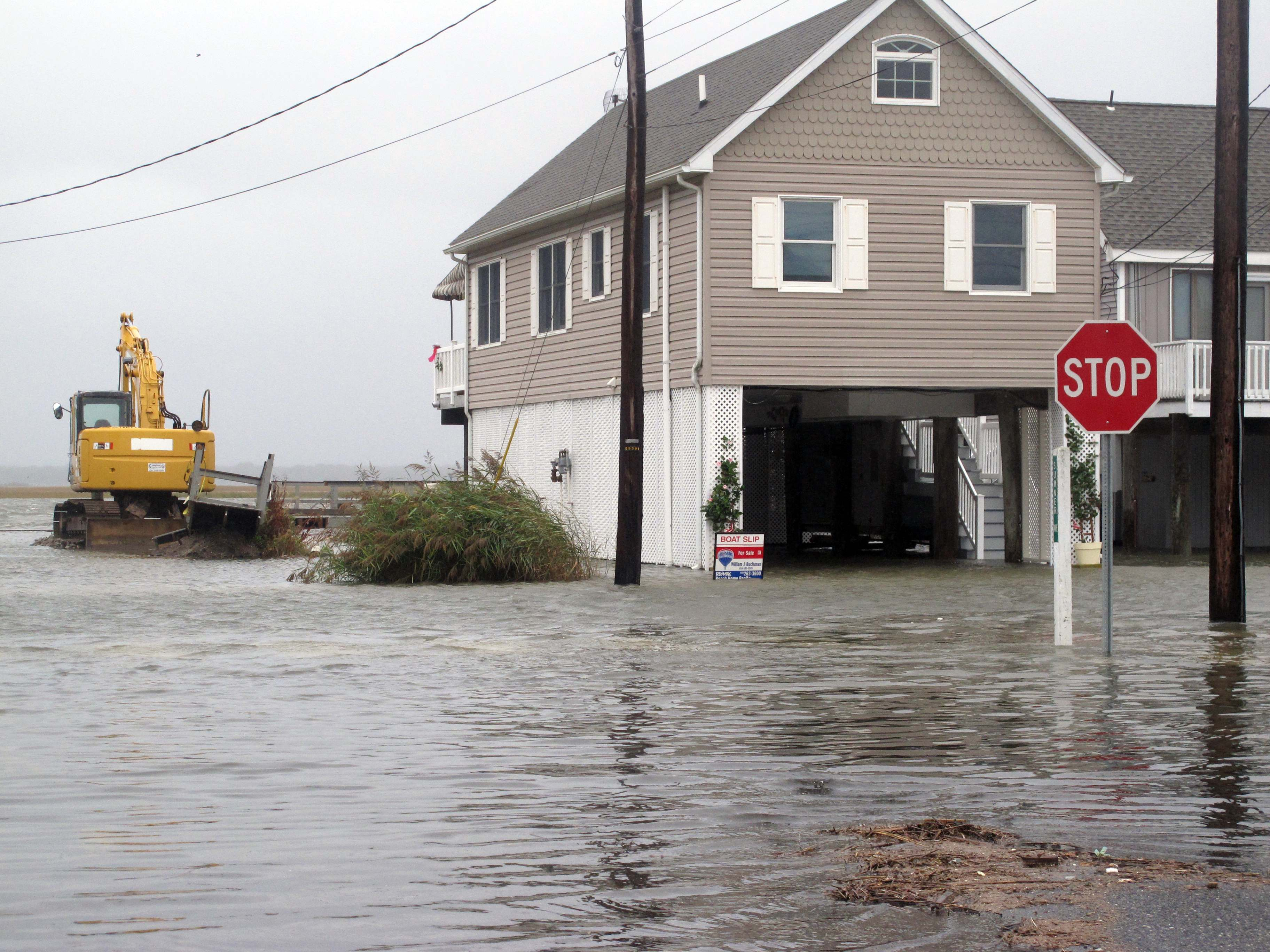 Flood waters enveloped this neighborhood in the Strathmere section of Upper Township N.J. on Friday Oct. 2, 2015.