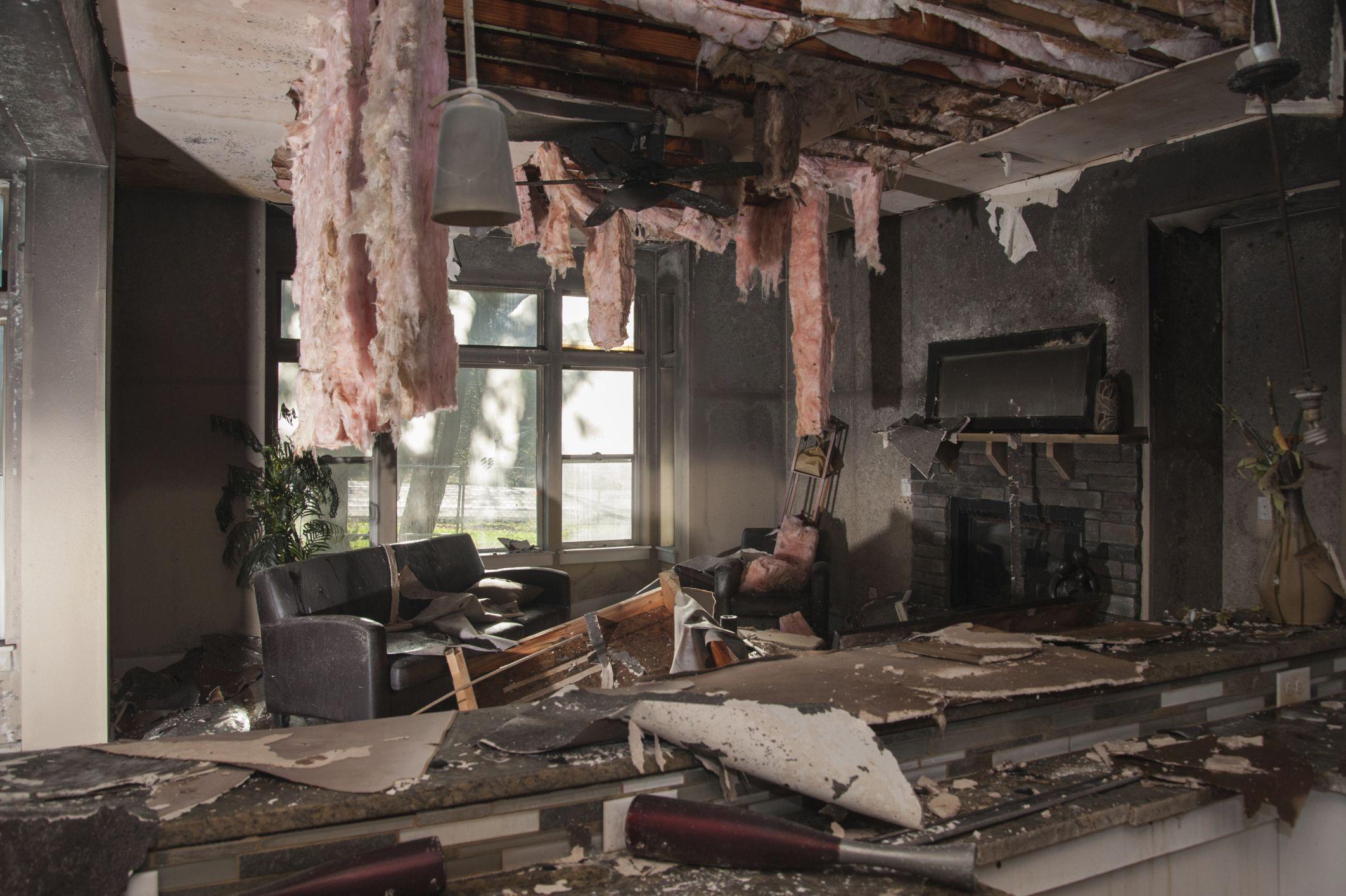 burned living room