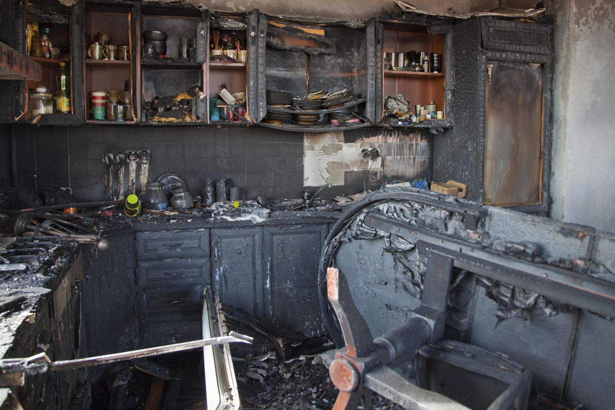 kitchen damaged by fire