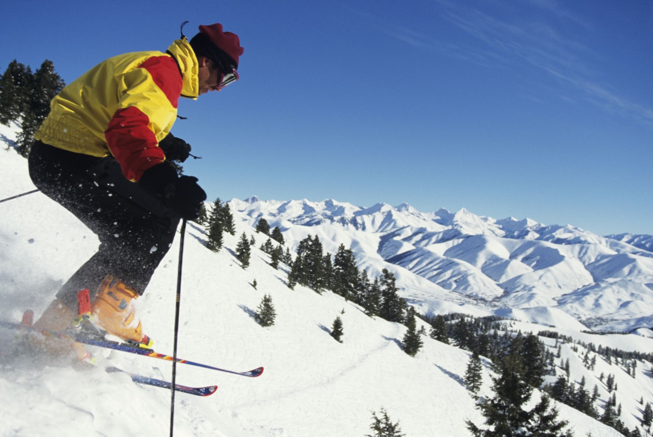 Downhill skier high in Idaho moutains