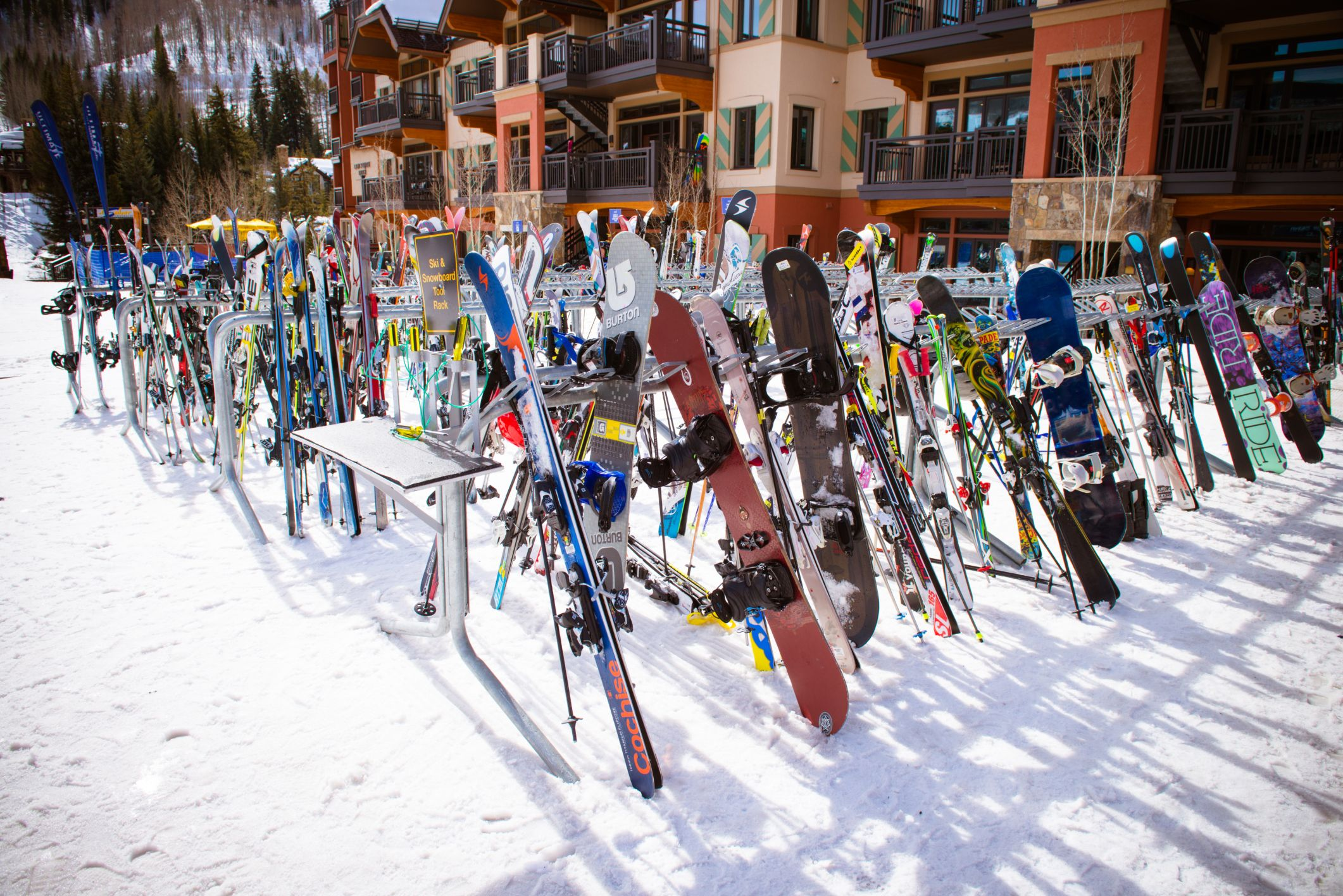 Vail, USA - February 12, 2015: Skiers and lift during ski season in Vail, Colorado
