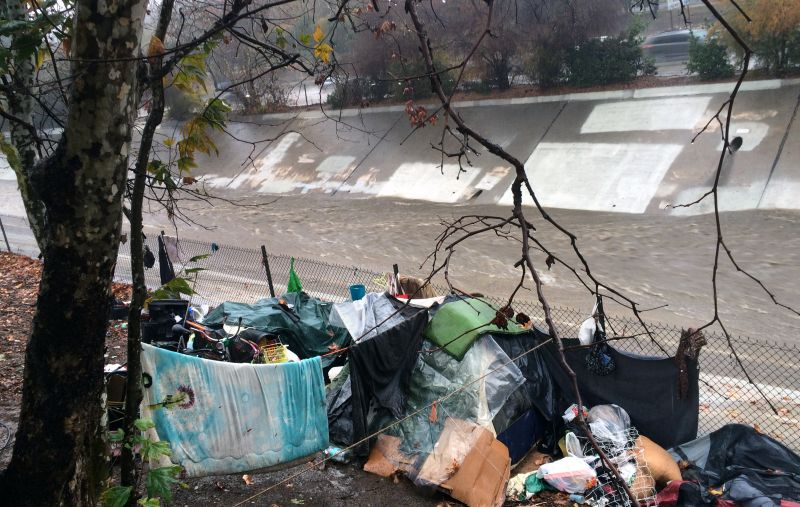 A homeless encampment is left abandoned along the Arroyo Seco north of downtown Los Angeles on Tuesday, Jan. 5, 2016.