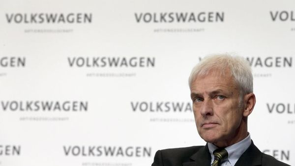 Matthias Mueller, CEO of Volkswagen, attends a press conference of the German car manufacturer Volkswagen in Wolfsburg, Germany, Thursday, Dec. 10, 2015. (AP Photo/Michael Sohn)