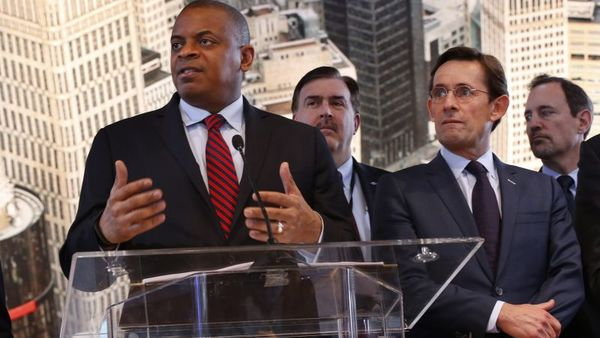 U.S. Transportation Secretary Anthony Foxx speaks as auto executives listen at the North American International Auto Show in Detroit, Thursday, Jan. 14, 2016. (AP Photo/Paul Sancya)