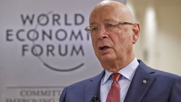 President and Founder of the World Economic Forum Klaus Schwab speaks during an interview with The Associated Press in Davos, Switzerland, Monday Jan. 18, 2016. The world's political and business elite are being urged to do more than pay lip service to growing inequalities around the world as they head off for this week's World Economic Forum in the Swiss ski resort of Davos this week. (AP Photo/Michel Euler)