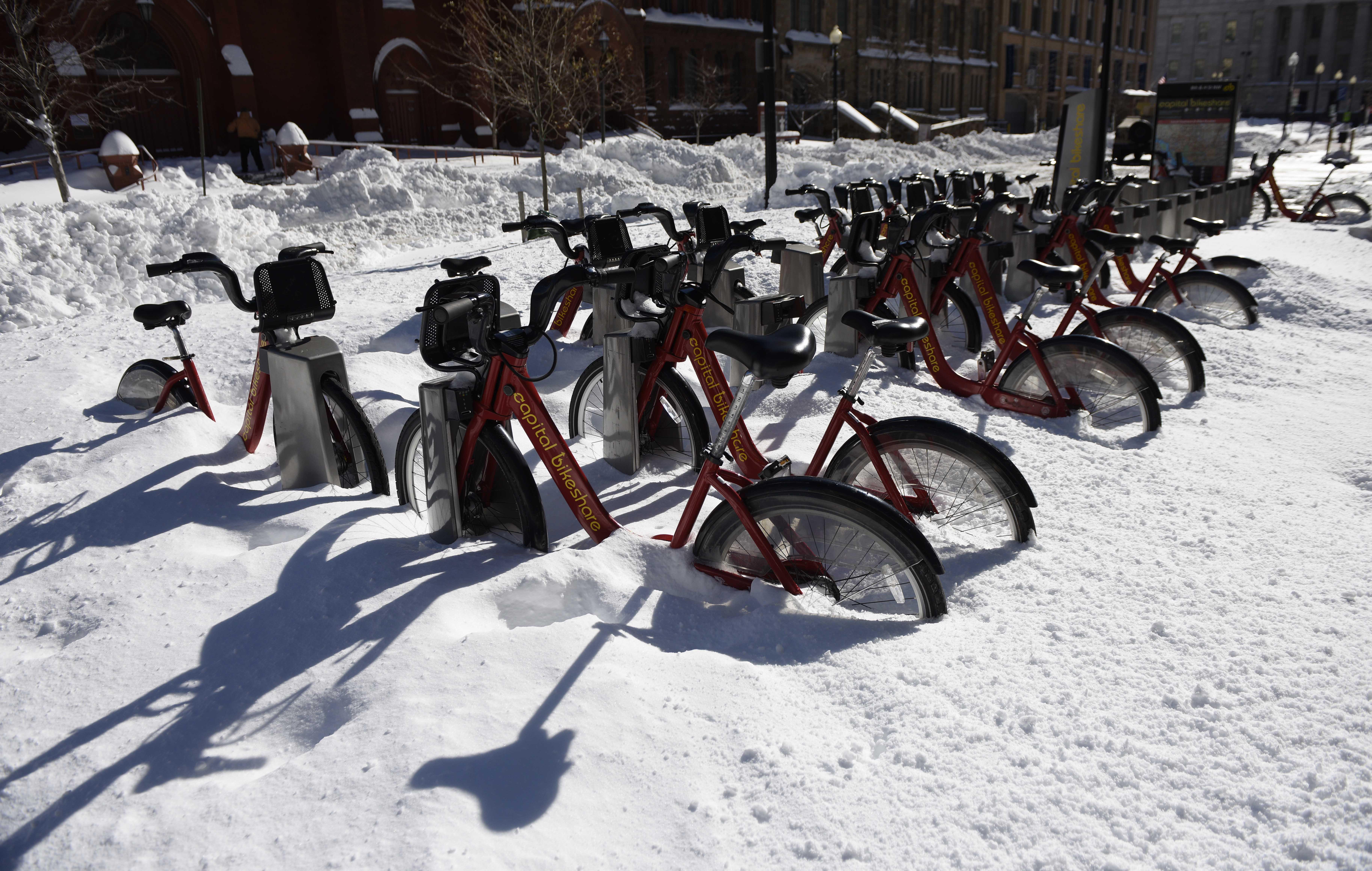 Bikes buried in snow in Washington