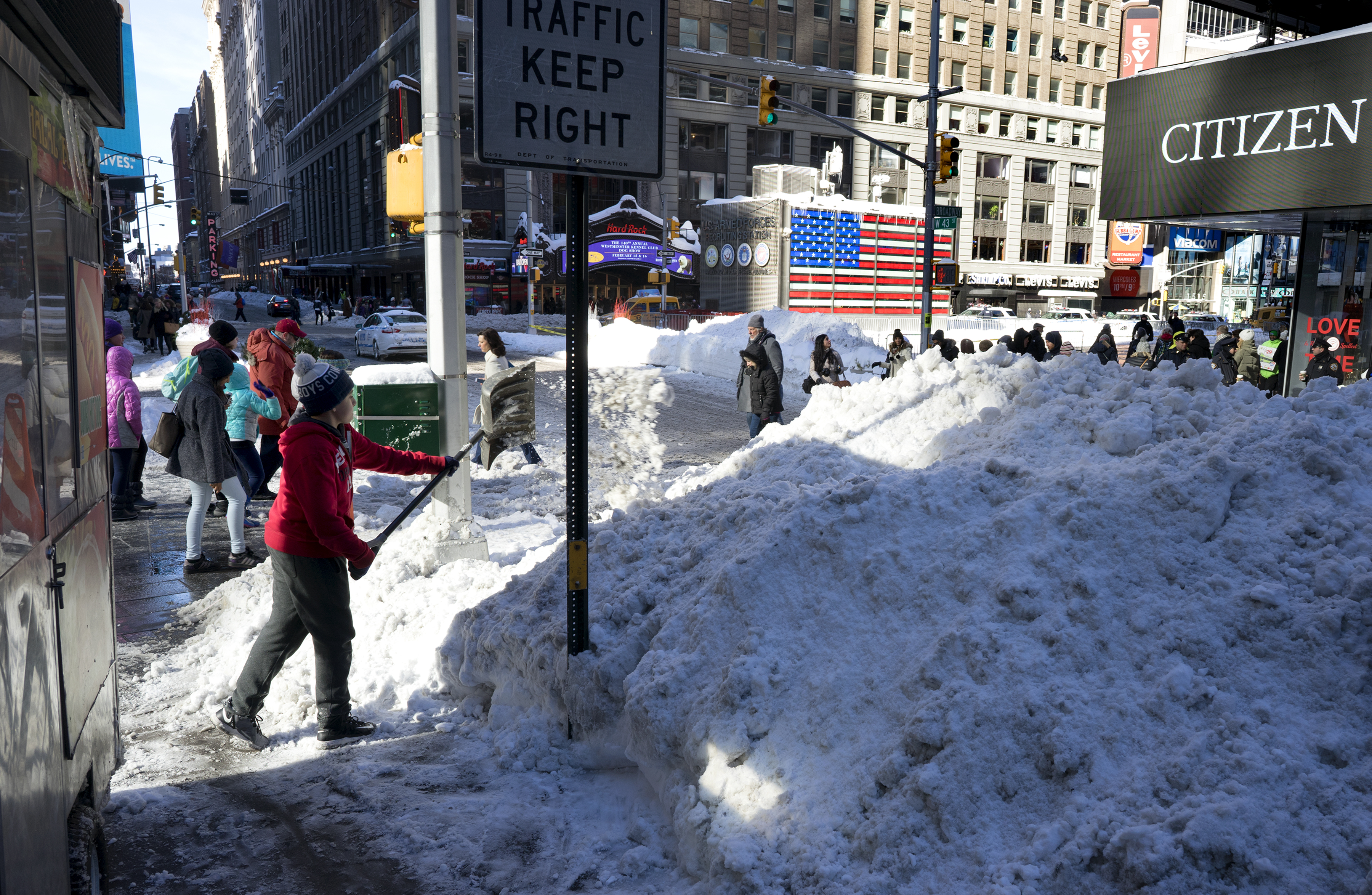 Clearing snow in Times Square