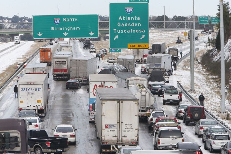 Traffic is at a standstill on Interstate 65 northbound as officials work to clear abandoned vehicles Wednesday, Jan. 29, 2014 in Hoover, Ala.
