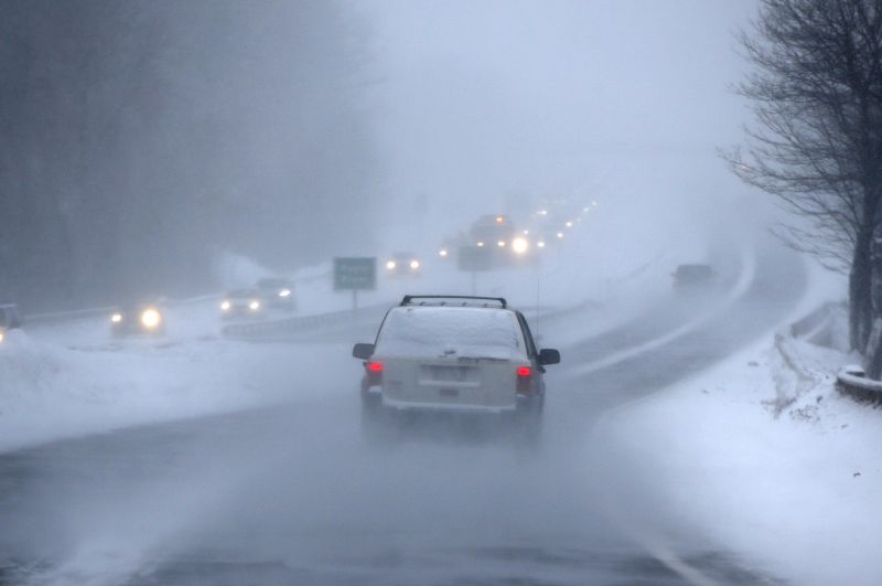 Drivers on I-295 contend with near-whiteout conditions while driving in a snow storm Monday, Feb. 2, 2015, in Yarmouth, Maine.