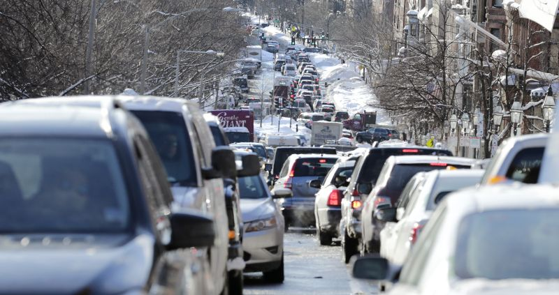 Cars are gridlocked on Beacon Street in Boston, Tuesday, Feb. 3, 2015.