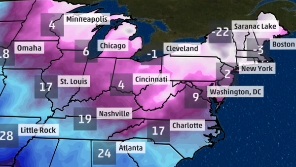 A polar vortex is bringing extreme cold temperatures to the Midwest, Mid-Atlantic and Northeast. (Photo: The Weather Channel)