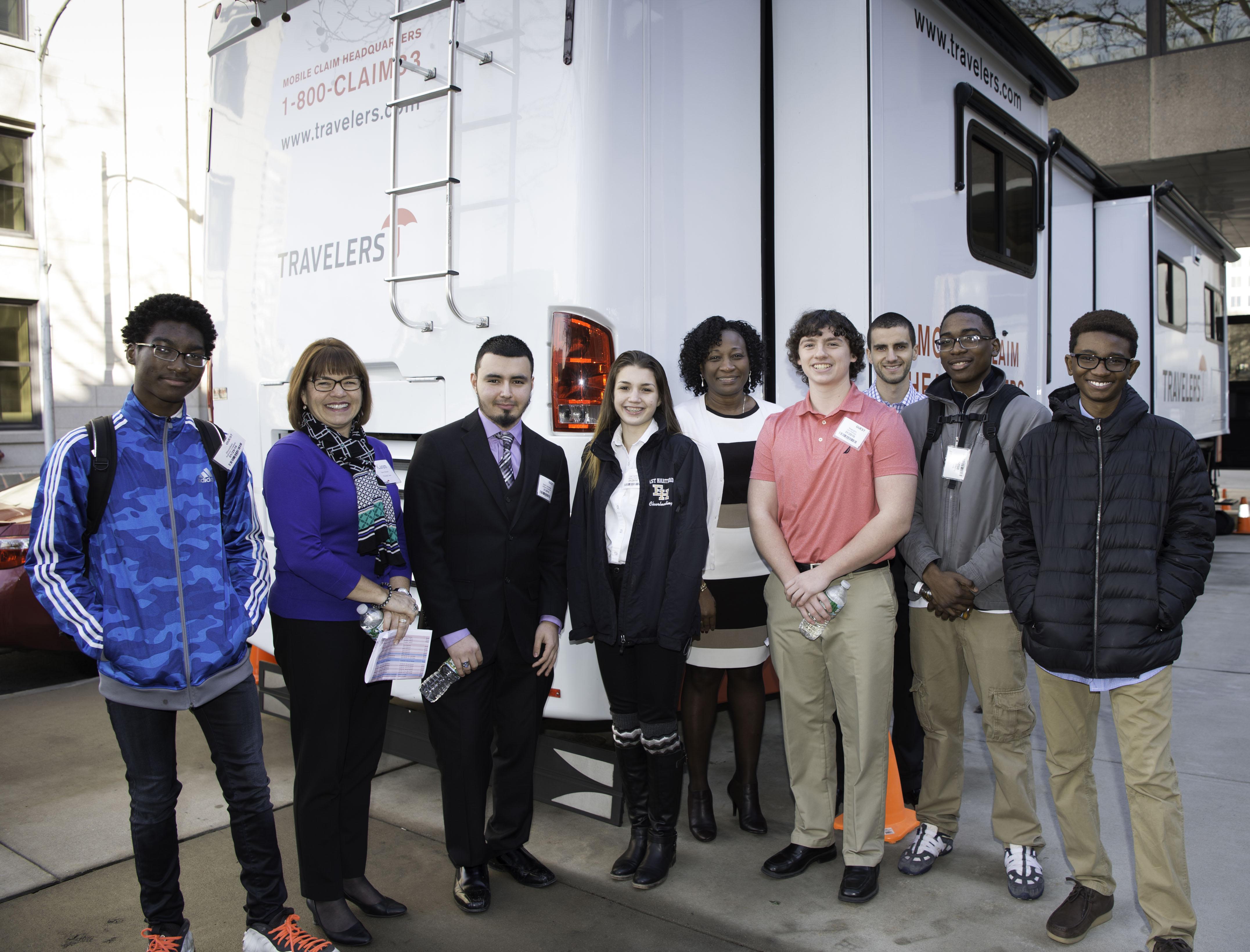 Students-in-front-of-Travelers-catastrophe-van
