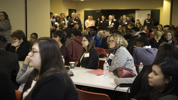 On Jan. 29, more than 150 students and educators from five Connecticut and Massachusetts high schools were able to get an inside look at Travelers as part of the national InVEST program. (Contributed photo: Travelers)