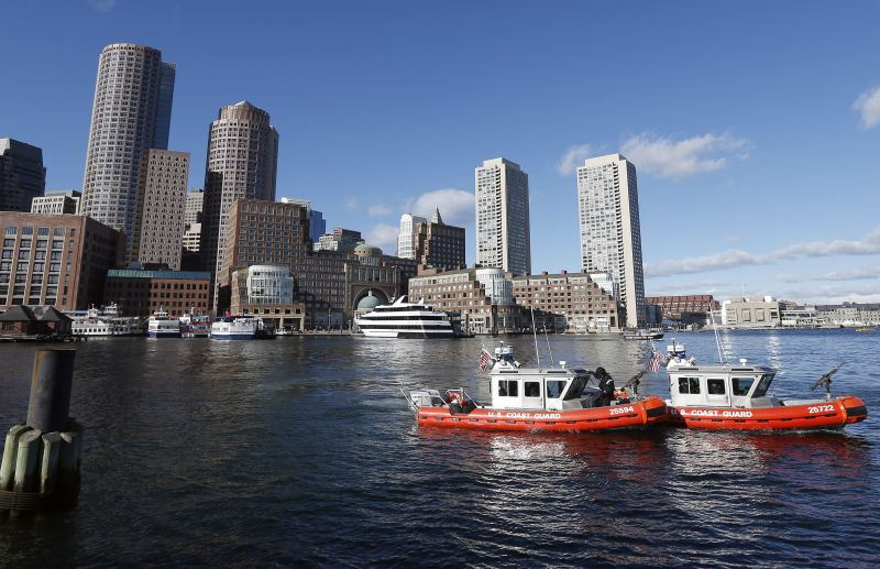 U.S. Coast Guard boats patrol the Boston Harbor