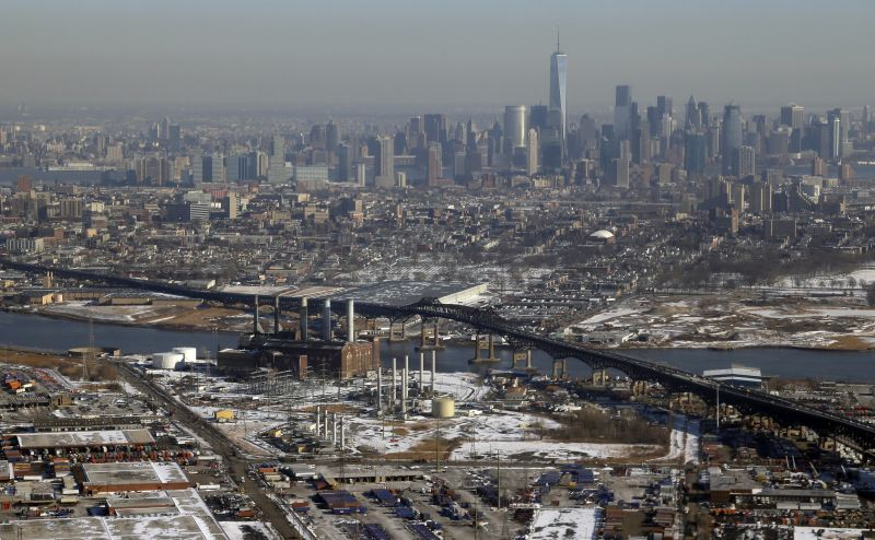 Downtown New York is seen at top in this view from the air approaching Newark Liberty International Airport, Thursday, Jan. 30, 2014