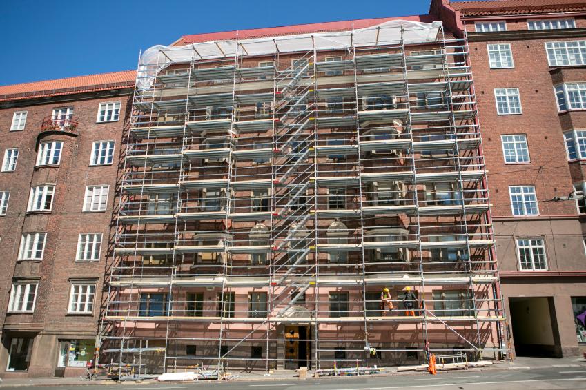 Apartment building under renovation