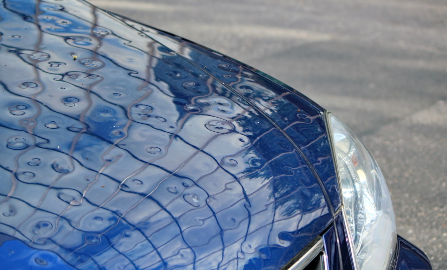 Hail damage on a car